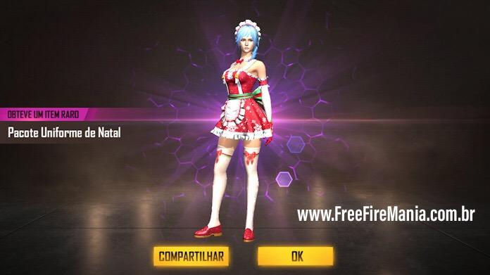Nova Skin Uniforme de Natal Grátis no Free Fire