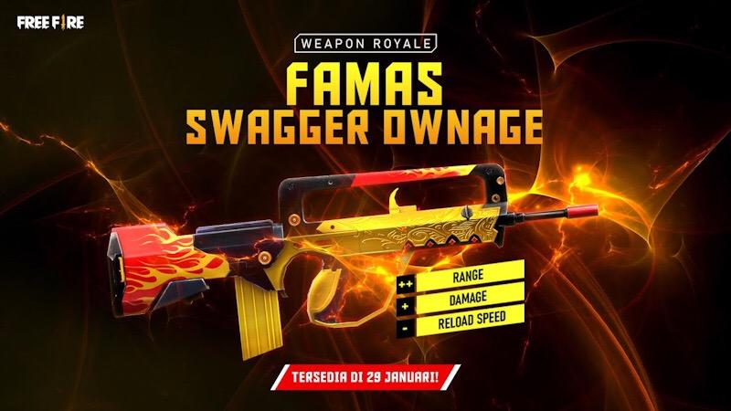 Novo Arma Royale da FAMAS Gabarola no Free Fire
