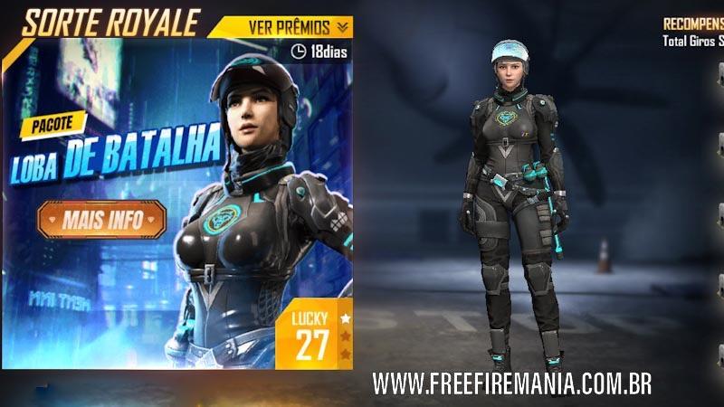 Novo Diamante Royale com o pacote Loba de Batalha no Free Fire