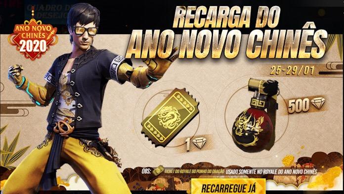 Novo Evento de Recarga com a Skin da Granada de Gel Dragão Dourado