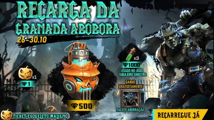 Novo Evento de Recarga da Granada Abóbora no Free Fire