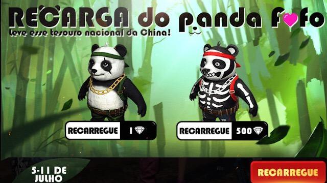 Novo Evento de Recarga - Ganhe o Panda e a Skin Caveira!