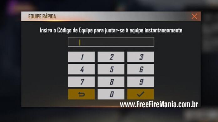 Novo: Gere Códigos de Equipe para entrar nas Partidas do Free Fire