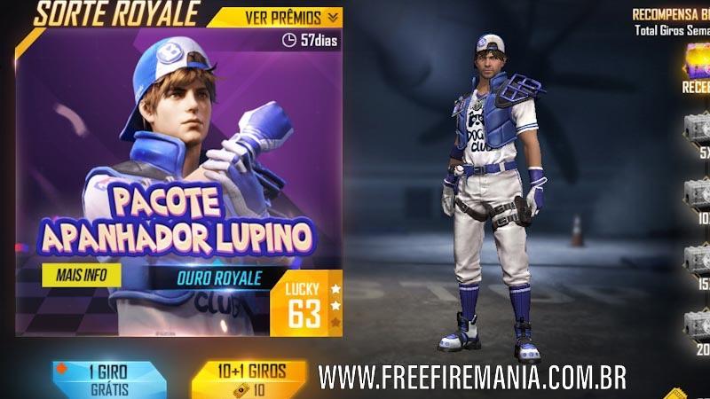 Novo Ouro Royale do Free Fire no Brasil é o pacote Apanhador Lupino