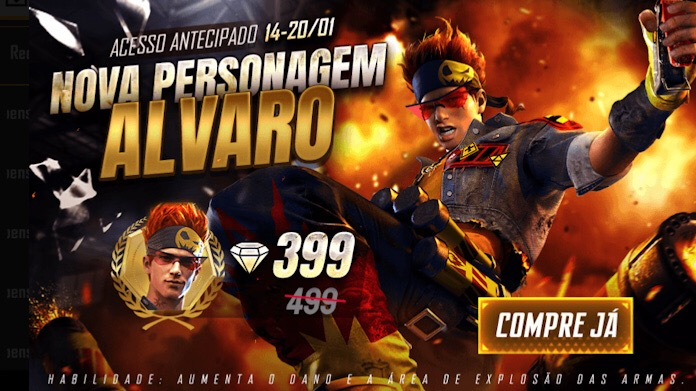 Novo Personagem Alvaro por 399 Diamantes no Free Fire