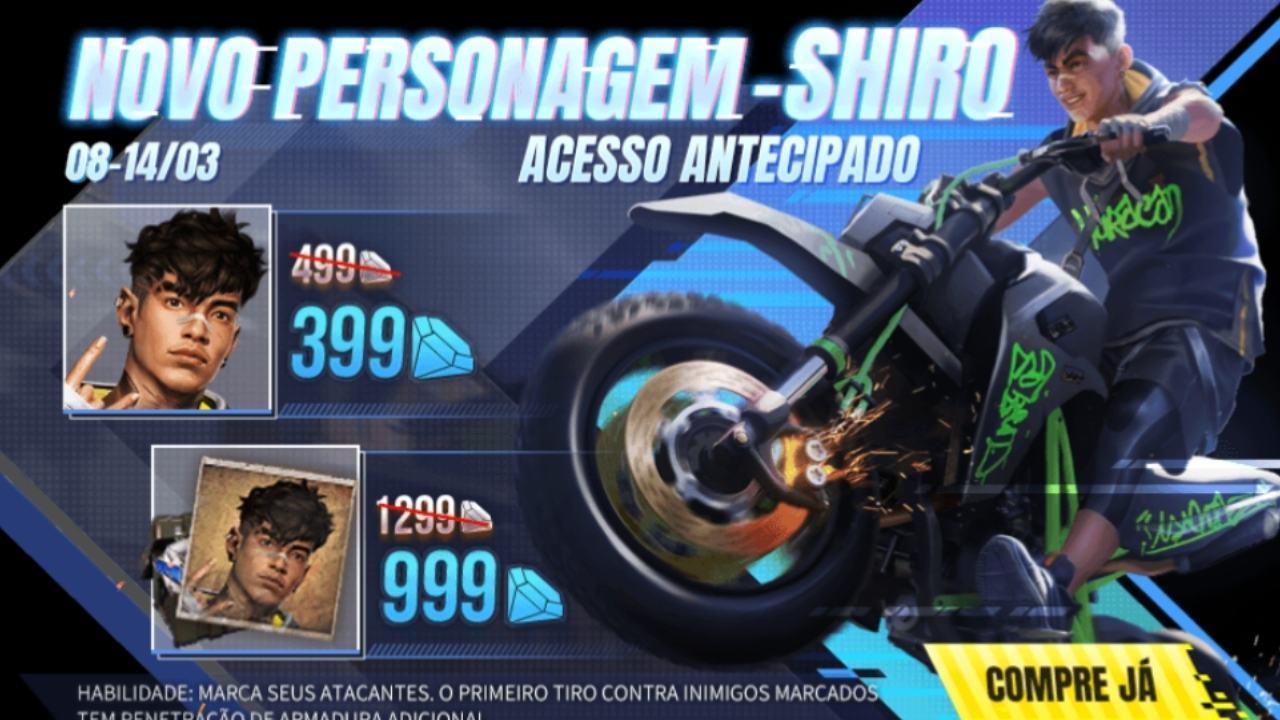Novo personagem Shiro chega à loja do Free Fire, confira os valores e habilidade