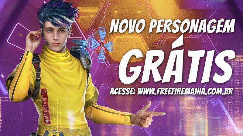 Novo personagem Wolfrahh Grátis no Free Fire