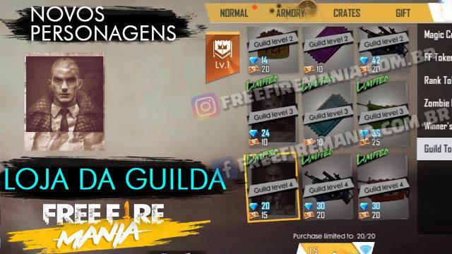 Fragmentos dos Novos Personagens Disponíveis na Loja da Guilda