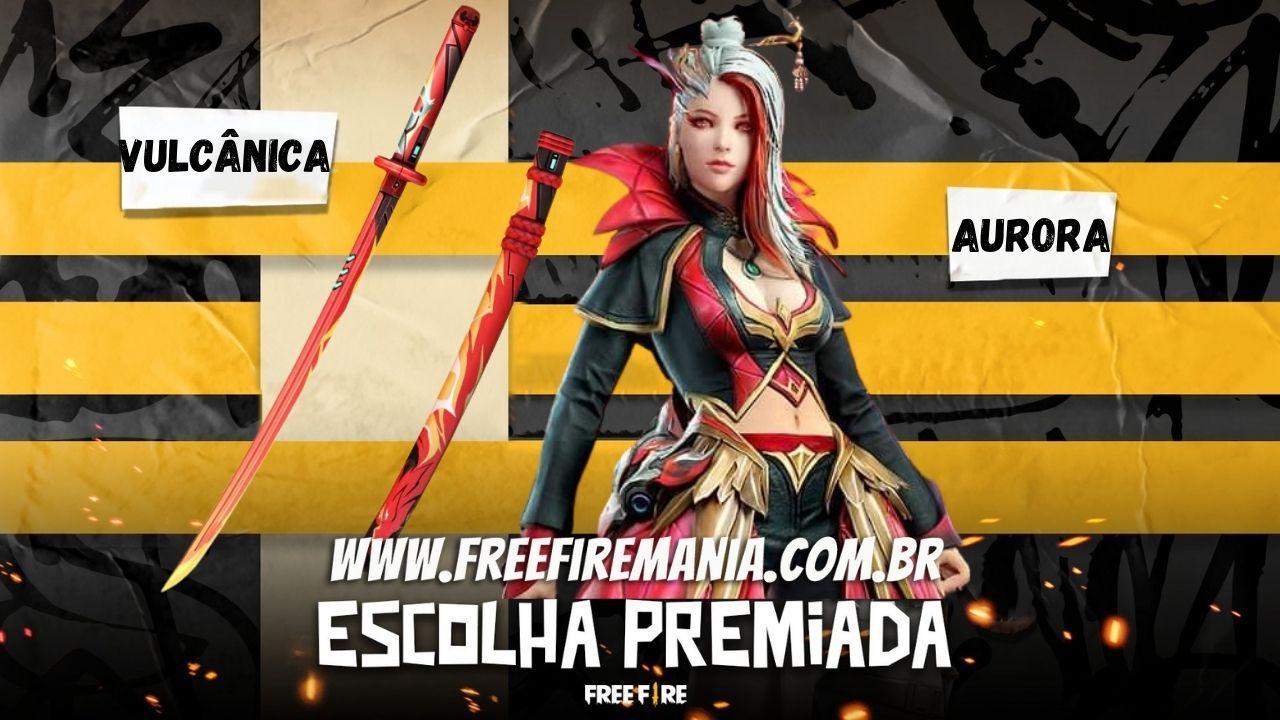 Pacote Aurora e Katana Vulcânica chegam no evento Escolha Premiada do Free Fire