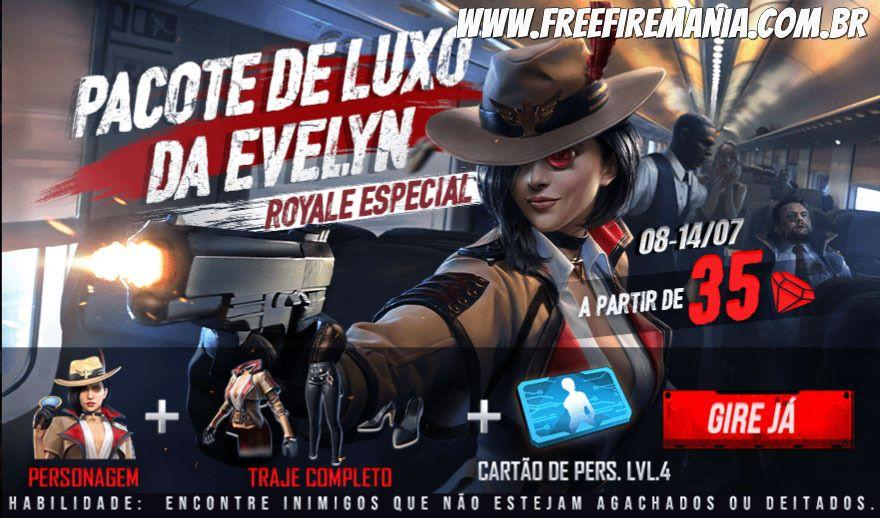 Pacote de Luxo da Evelyn no novo Royale Especial do Free Fire
