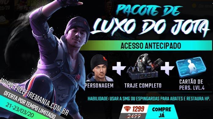 Pacote de Luxo do Jota disponível na loja do Free Fire no Brasil
