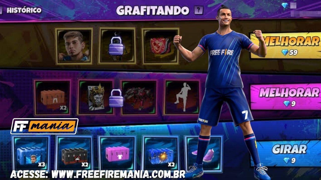 Pacote do Cristiano Ronaldo, Agente Golático chega no Grafitando Free Fire