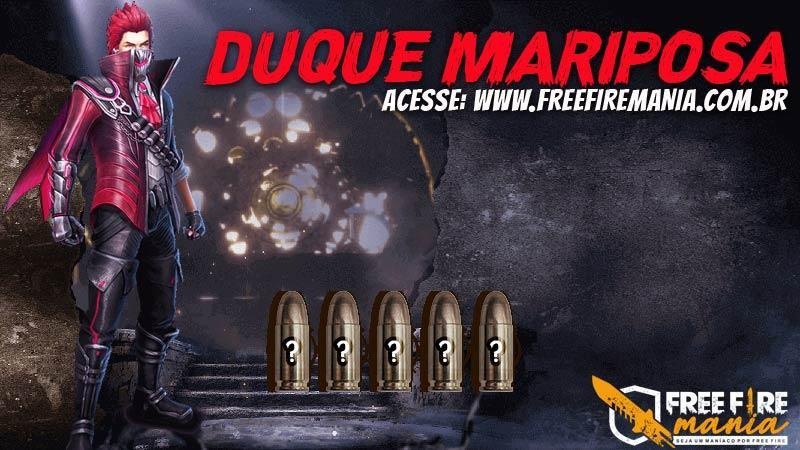 Pacote com a skin Duque Mariposa no Free Fire