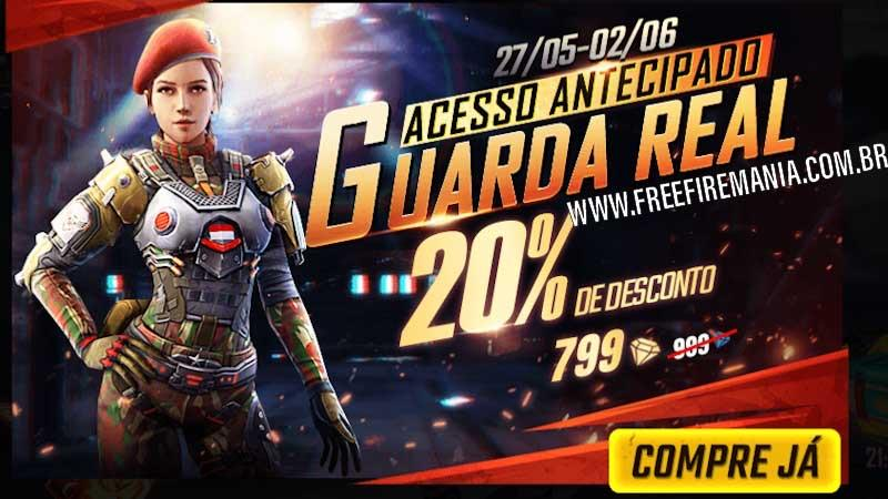 Pacote Guarda Real disponível na Loja do Free Fire
