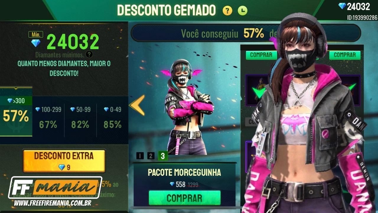 Pacote Morceguinha Free Fire: skin disponível no evento Desconto Gemado, confira os detalhes