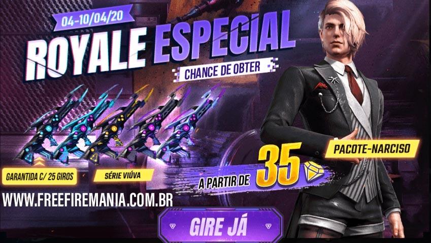Pacote Narciso no Sorte Royale Especial do Free Fire