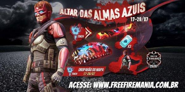 Pacote Vingador Desalmado grátis no Free Fire na troca por Orbes de Alma Azul