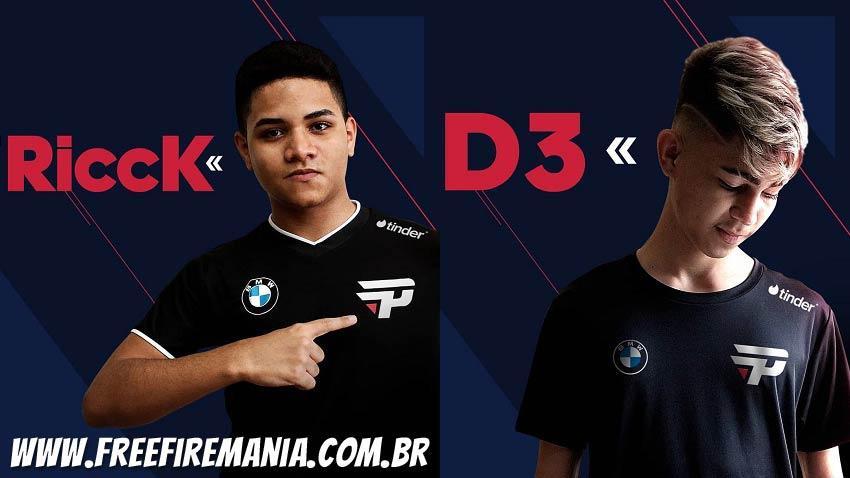 paiN Gaming anuncia nova line-up de Free Fire com D3, Rick e Déco