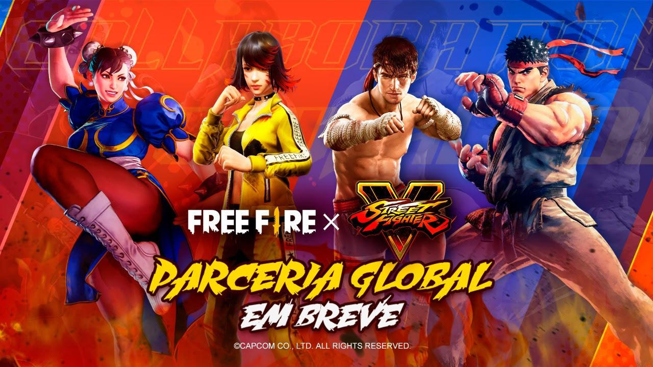 Parceria do Free Fire com Street Fighter chega em Julho, deem as boas-vindas a Ryu e Chun-Li