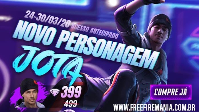 Personagem Jota: Na loja por 399 Diamantes no Free Fire