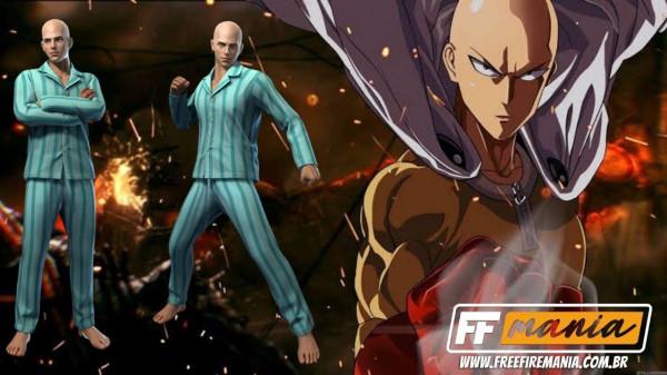 Pijama do Saitama Free Fire: primeiro pacote temático One Punch-Man chega no Escolha Royale