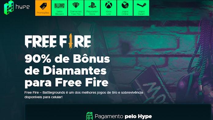 Quer 90% de bônus no Free Fire? Só chegar no Hype!
