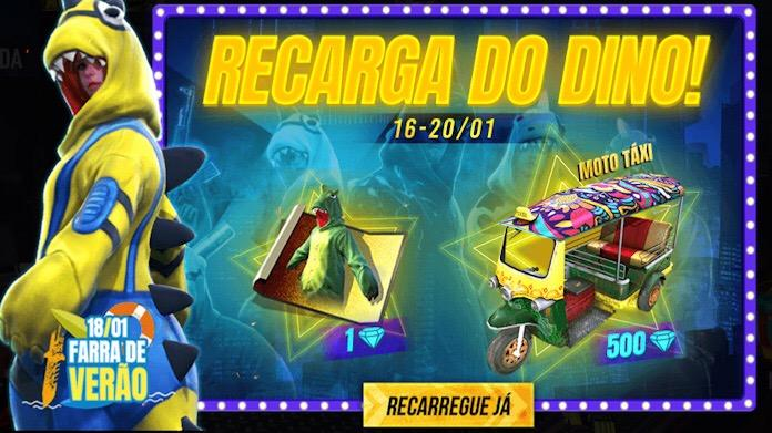 Recarga de Diamantes do Dino no Free Fire