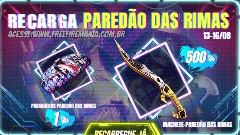 Recarga Paredão das Rimas, revelada a nova Machete e Paraquedas do Free Fire
