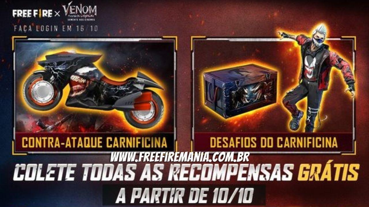 Las recompensas de asociación de Free Fire y Venom serán gratuitas y alcanzarán su punto máximo el 16 de octubre