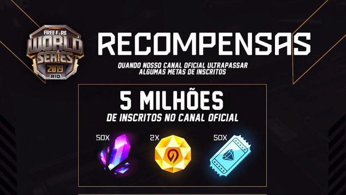 FAKE! Recompensas de 5 Milhões de Inscritos no Youtube do Free Fire Brasil