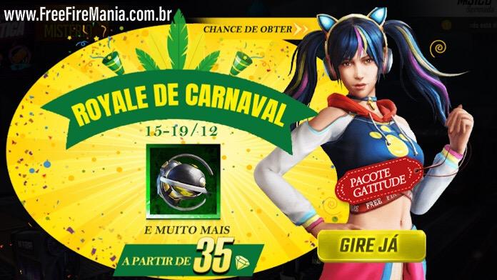 Royale de Carnaval com a Skin Gatitude no Free Fire