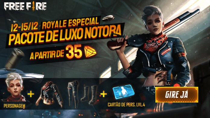 Royale Especial: Pacote de Luxo Notora no Free Fire