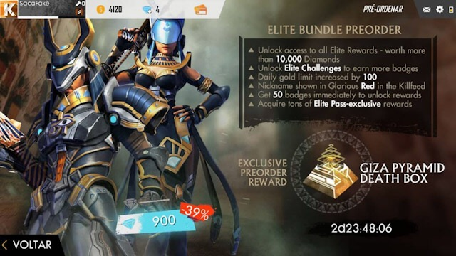 Passe de Elite Deuses Egípcios Free Fire