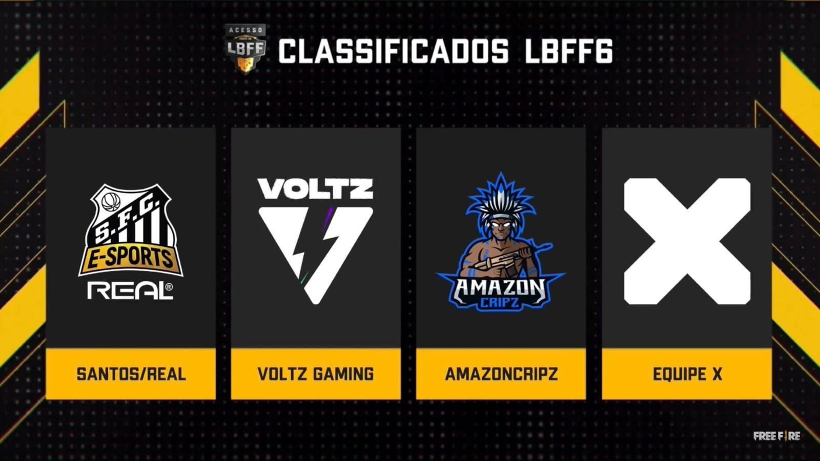 Santos, Voltz, AmazonCripz e Equipe X estão na Serie A da LBFF Season 6!