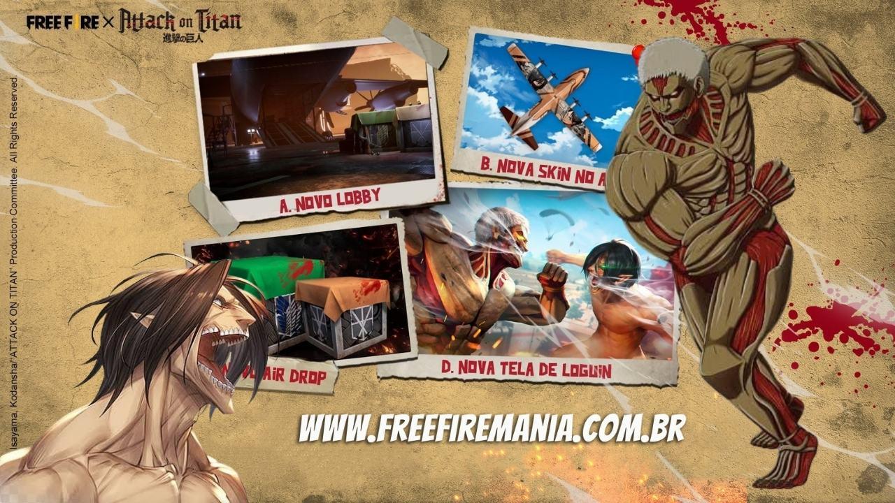 Shingeki no Kyojin x Free Fire: mudanças, trailer, pacote de Titans, armas e mais