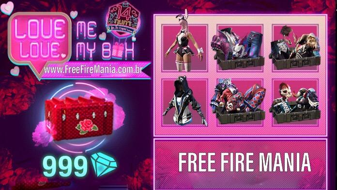 Skins do Cubo Mágico de volta na Caixa dos Namorados no Free Fire