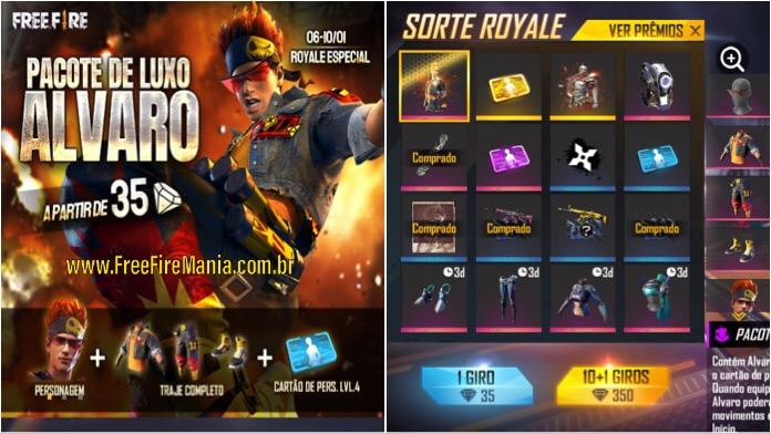 Sorte Royale Especial do Novo Personagem Alvaro no Free Fire