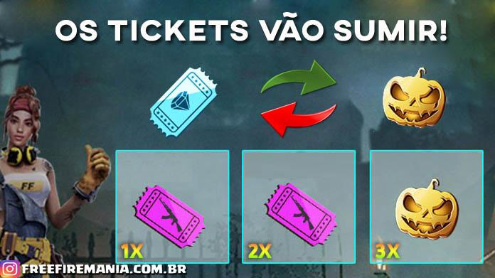 Sumiram os Tickets Azuis do Diamante no Free Fire