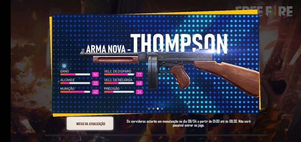 Thompson agora disponível nas Ranqueadas do Free Fire
