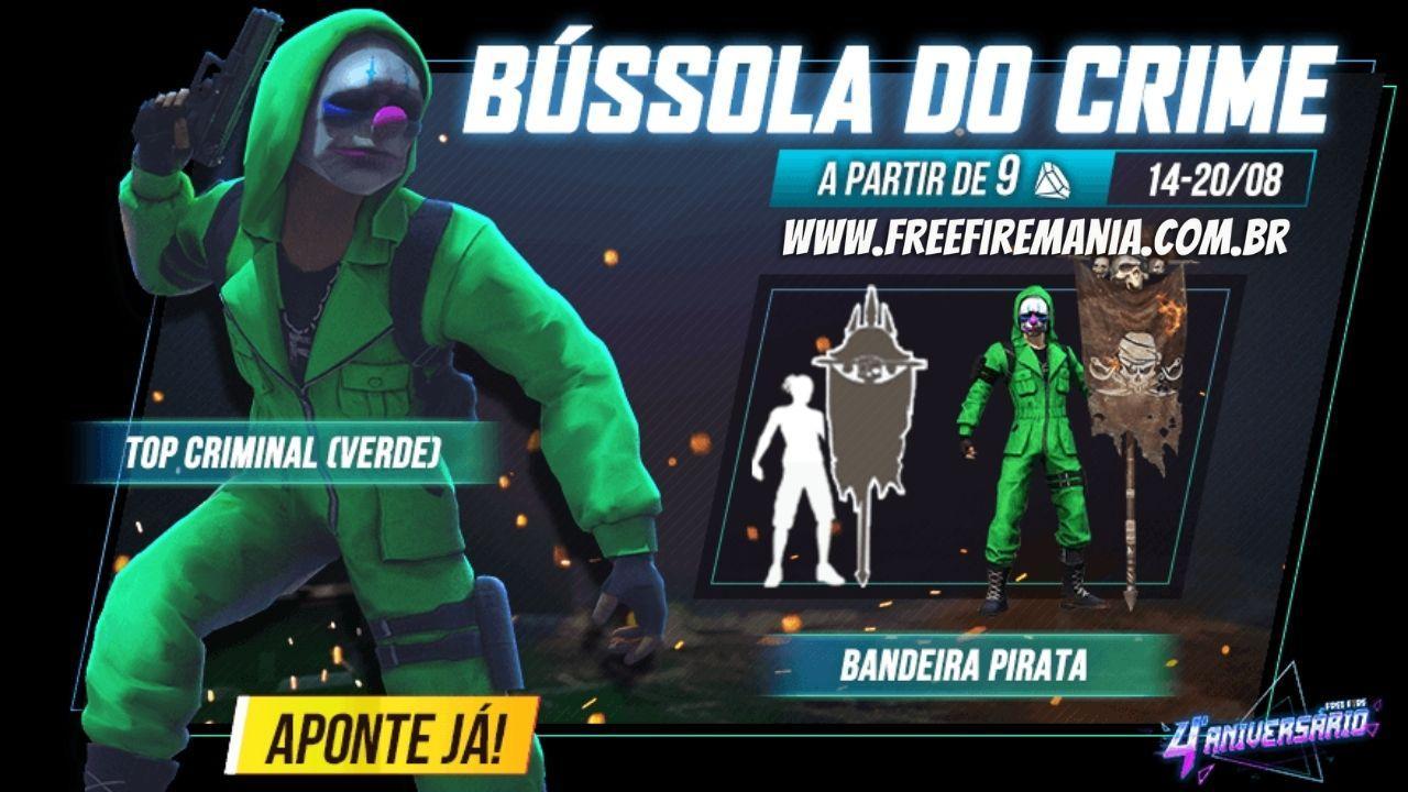 Top Criminal está de volta ao Free Fire, veja como conseguir o conjunto verde neste sábado