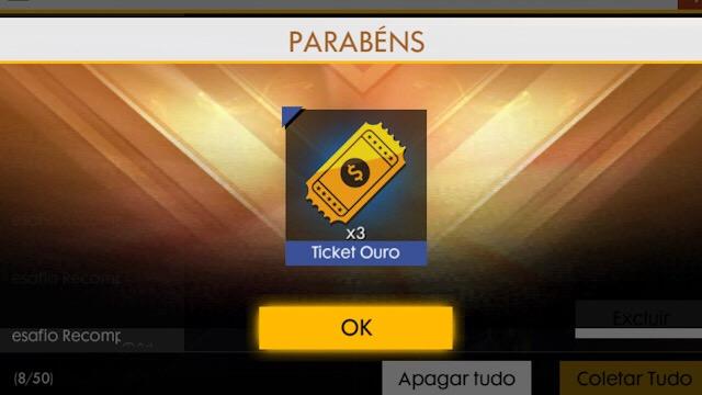 Três Tickets do Ouro Royale - Presente da Garena
