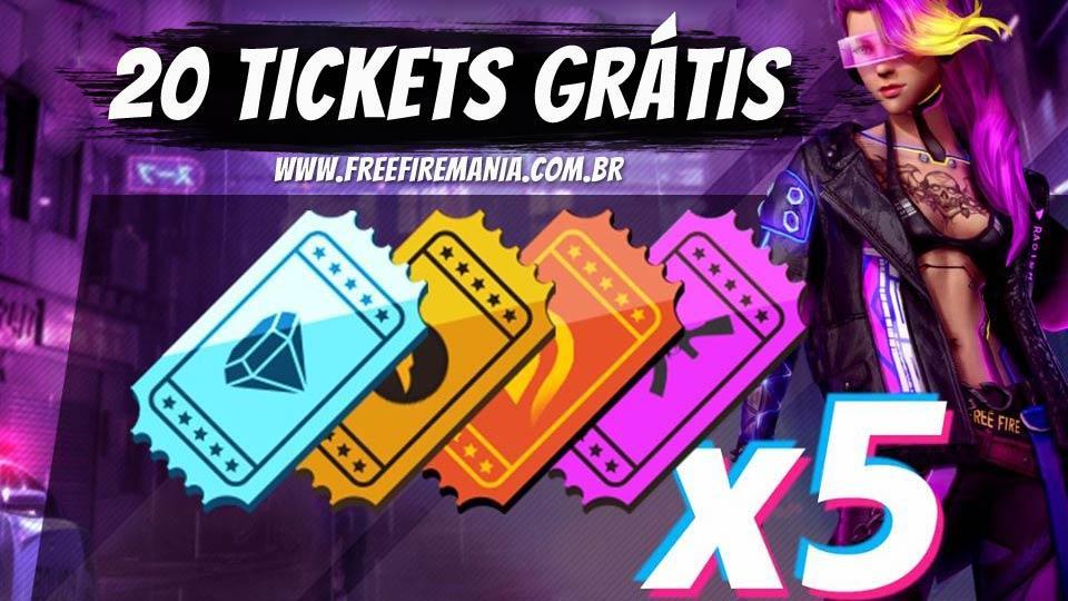 x20 Tickets do Sorte Royale Grátis neste domingo no Free Fire